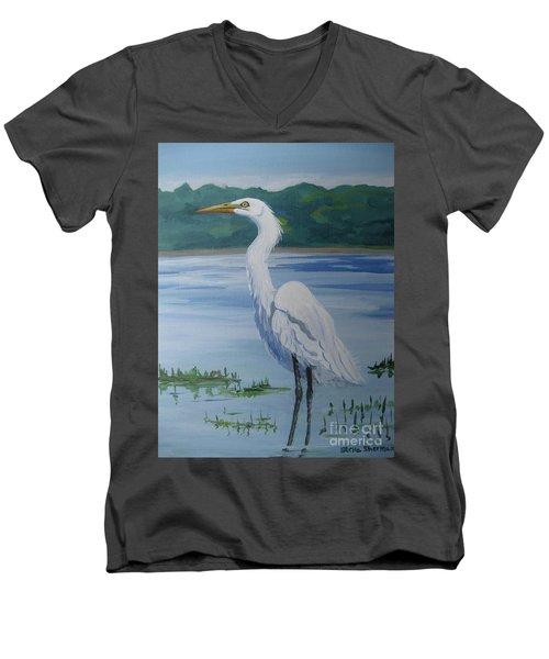 Marsh Land Egret Men's V-Neck T-Shirt