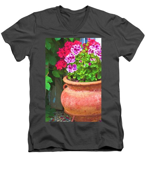 Men's V-Neck T-Shirt featuring the photograph Martha Washington Geraniums In Textured Clay Pot by Sandra Foster