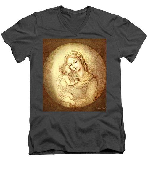 Mary And Jesus Men's V-Neck T-Shirt
