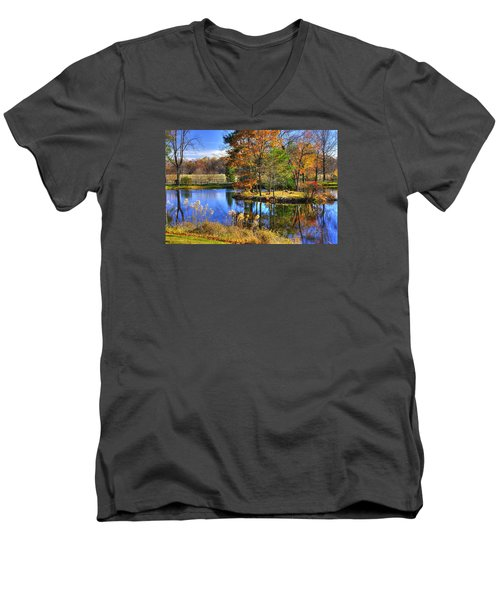 Maryland Country Roads - Autumn Respite No. 1 - Stronghold Sugarloaf Mountain Frederick County Md Men's V-Neck T-Shirt by Michael Mazaika