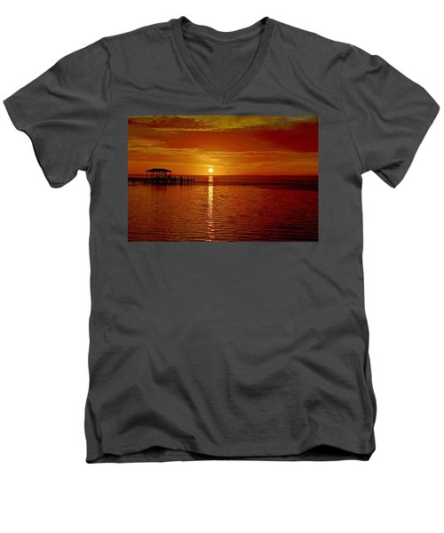 Men's V-Neck T-Shirt featuring the photograph Mass Migration Of Birds With Colorful Clouds At Sunrise On Santa Rosa Sound by Jeff at JSJ Photography