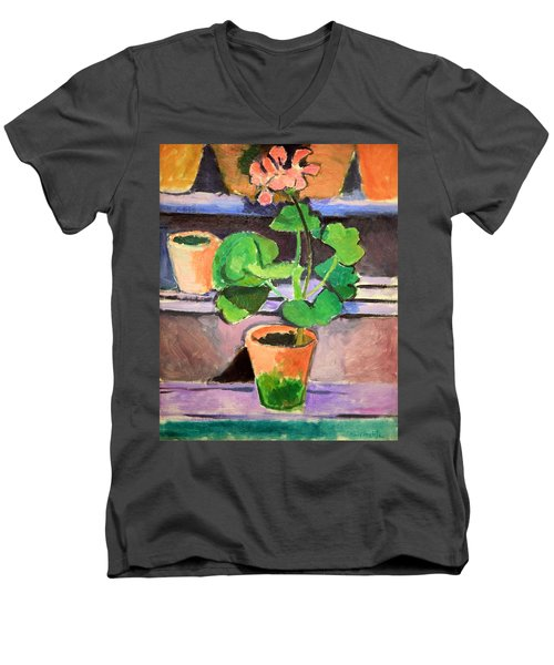 Matisse's Pot Of Geraniums Men's V-Neck T-Shirt by Cora Wandel