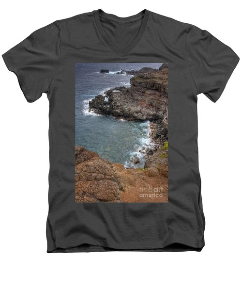 Men's V-Neck T-Shirt featuring the photograph Maui Cliff by Bryan Keil