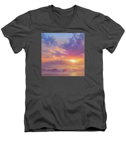 Maui To Molokai Hawaiian Sunset Beach And Ocean Impressionistic Landscape Men's V-Neck T-Shirt by Karen Whitworth