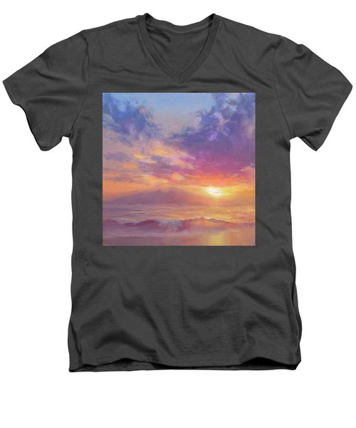 Coastal Hawaiian Beach Sunset Landscape And Ocean Seascape Men's V-Neck T-Shirt