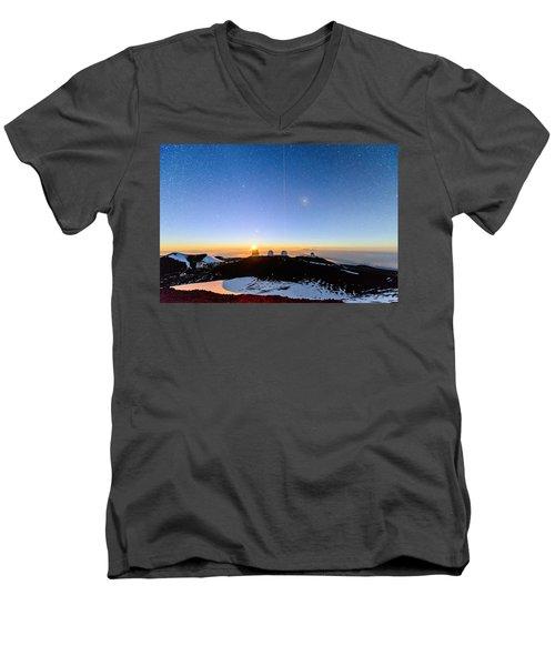 Mauna Kea Moonset 1 Men's V-Neck T-Shirt