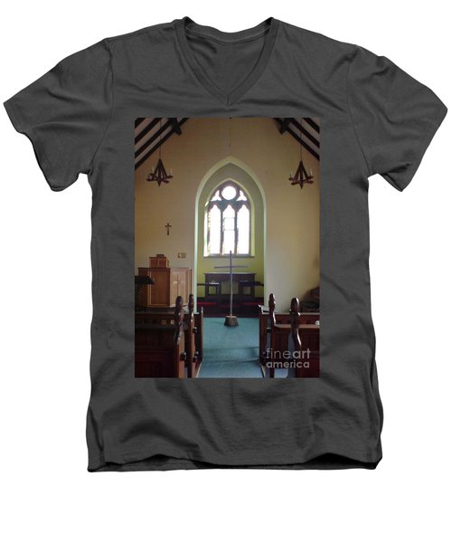 Men's V-Neck T-Shirt featuring the photograph May Hill Church by John Williams