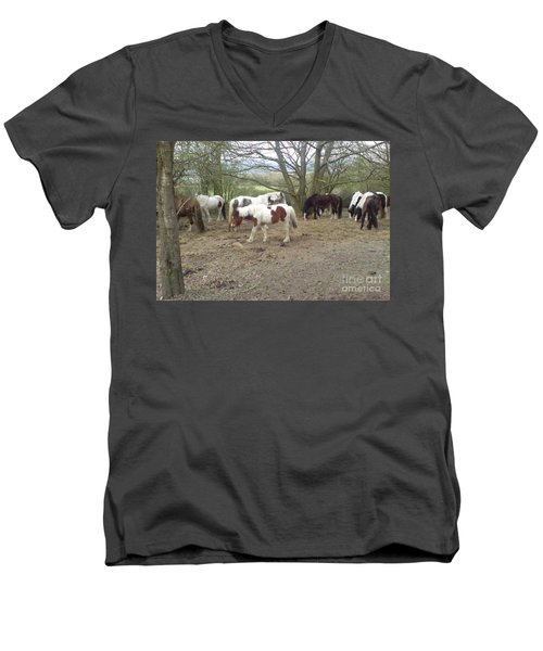 Men's V-Neck T-Shirt featuring the photograph May Hill Ponies 2 by John Williams