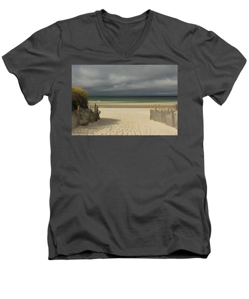 Mayflower Beach Storm Men's V-Neck T-Shirt by Amazing Jules