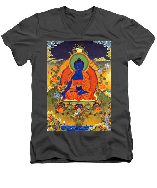 Medicine Buddha Men's V-Neck T-Shirt by Lanjee Chee