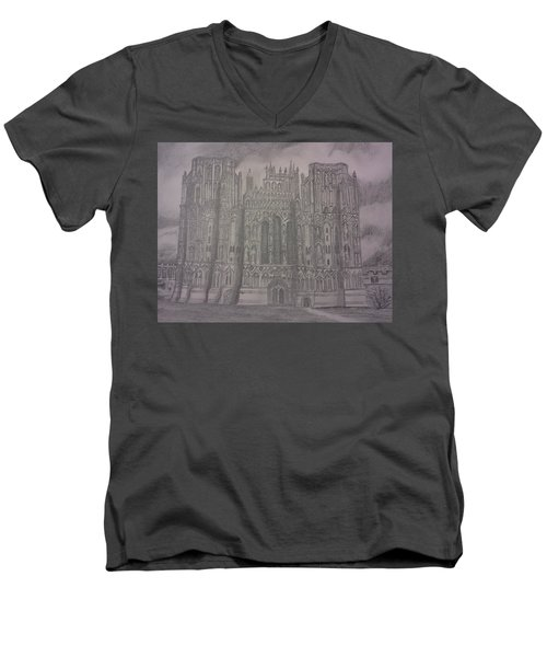 Men's V-Neck T-Shirt featuring the drawing Medieval Cathedral by Christy Saunders Church