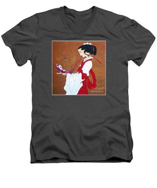 Meditation Men's V-Neck T-Shirt by Fei A