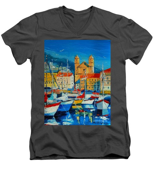 Mediterranean Harbor Men's V-Neck T-Shirt