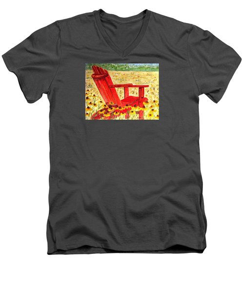 Men's V-Neck T-Shirt featuring the painting Meet Me In The Meadow by Angela Davies