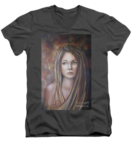Men's V-Neck T-Shirt featuring the painting Melancholy 080808 by Selena Boron