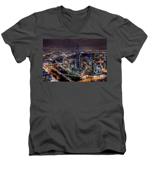 Melbourne At Night IIi Men's V-Neck T-Shirt