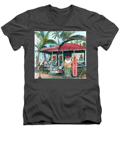 Mele Kalikimaka Hawaiian Santa Men's V-Neck T-Shirt