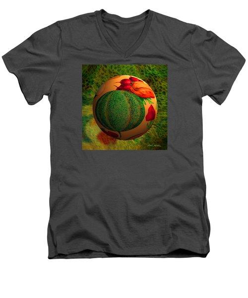 Melon Ball  Men's V-Neck T-Shirt by Robin Moline