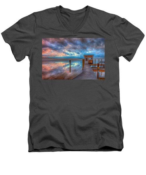 Melvin Village Marina In The Fog Men's V-Neck T-Shirt by Brenda Jacobs