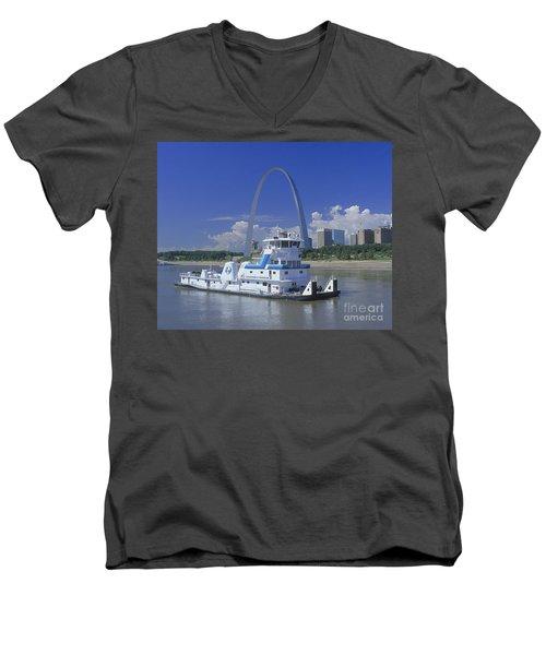 Memco Towboat In St Louis Men's V-Neck T-Shirt by Garry McMichael