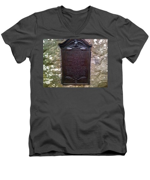 Memorial Tablet To Signal Corps U.s.a. Men's V-Neck T-Shirt