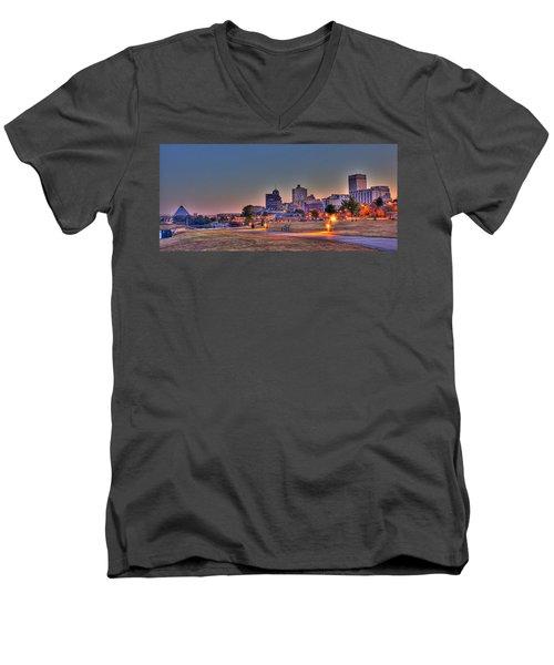 Cityscape - Skyline - Memphis At Dawn Men's V-Neck T-Shirt