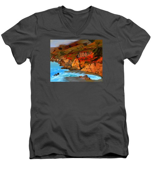 Mendocino Coast Men's V-Neck T-Shirt by Alice Leggett