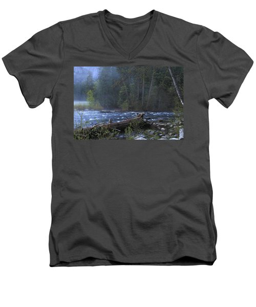 Merced River Men's V-Neck T-Shirt by Duncan Selby