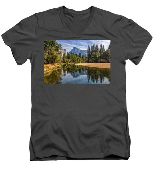 Merced River View II Men's V-Neck T-Shirt by Peter Tellone