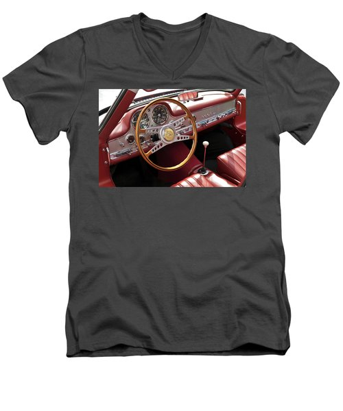 Mercedes Benz Gullwing 1956 Men's V-Neck T-Shirt by Maj Seda