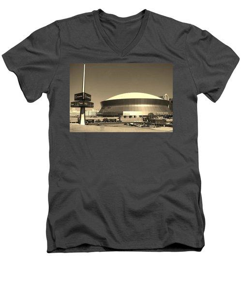 Mercedes Benz Superdome - New Orleans La Men's V-Neck T-Shirt by Deborah Lacoste