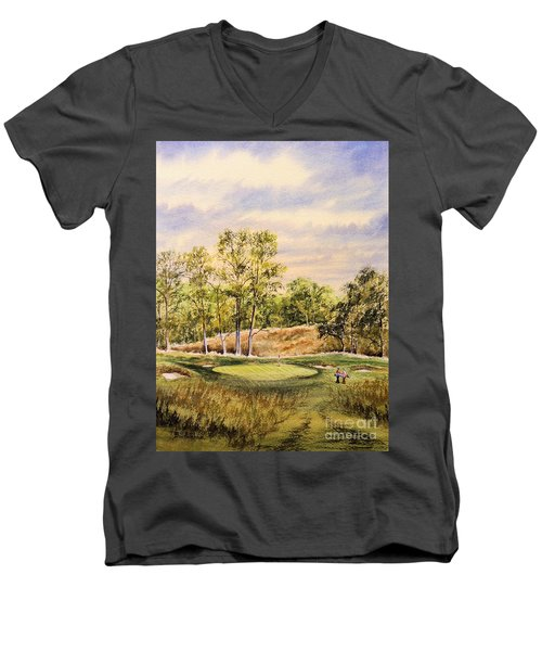 Men's V-Neck T-Shirt featuring the painting Merion Golf Club by Bill Holkham