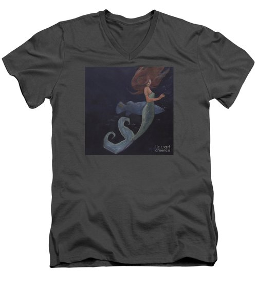 Mermaid And The Blue Fish Men's V-Neck T-Shirt by Mary Hubley
