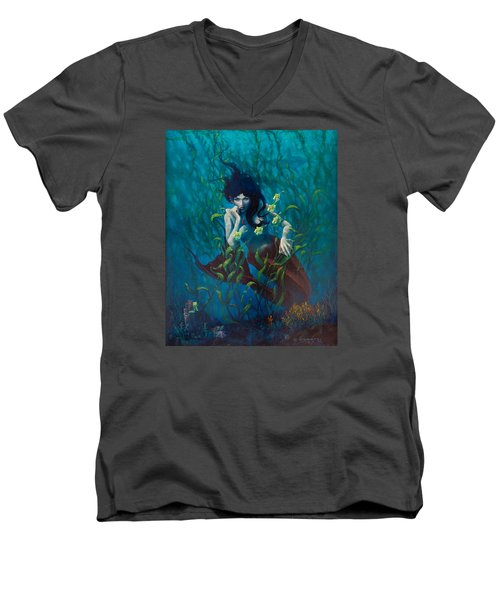 Men's V-Neck T-Shirt featuring the painting Mermaid by Rob Corsetti