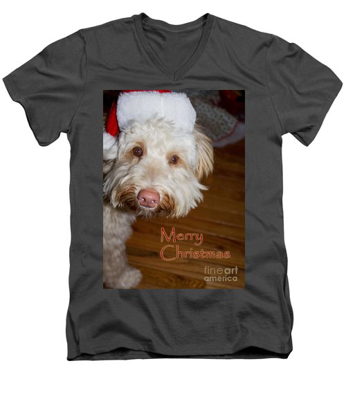 Merry Christmas From A Labrdoodle Card Men's V-Neck T-Shirt