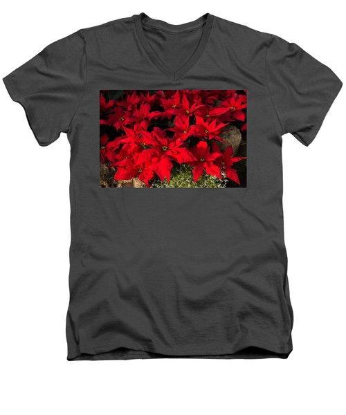 Merry Scarlet Poinsettias Christmas Star Men's V-Neck T-Shirt