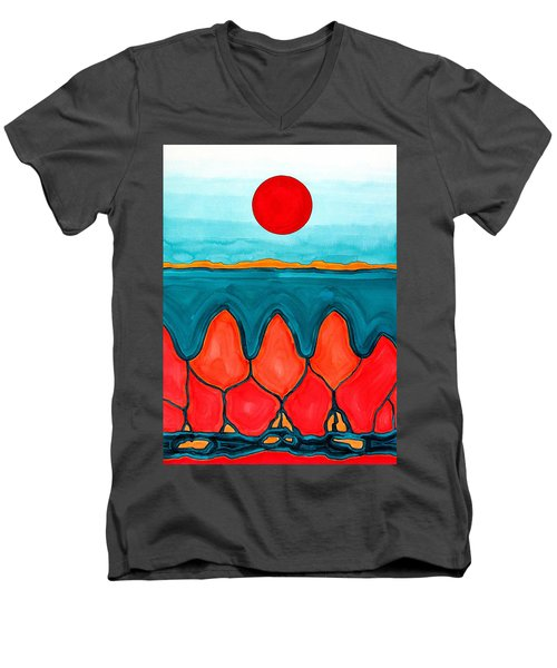 Mesa Canyon Rio Original Painting Men's V-Neck T-Shirt by Sol Luckman