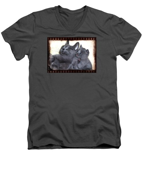 Mess With My Ma I'll Scratch Your Eyes Out Men's V-Neck T-Shirt by Richard Thomas