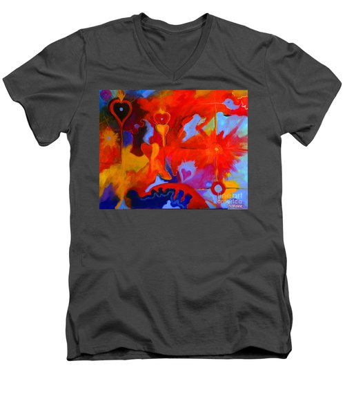 Men's V-Neck T-Shirt featuring the painting Message Of Love by Alison Caltrider