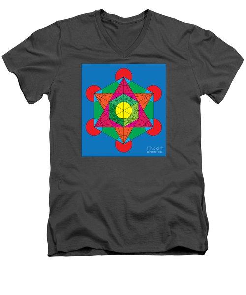 Metatron's Cube In Colors Men's V-Neck T-Shirt