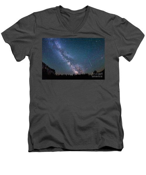 Meteor Milky Way  Men's V-Neck T-Shirt by Michael Ver Sprill