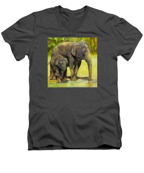 Thirsty, Methai And Baylor, Elephants  Men's V-Neck T-Shirt