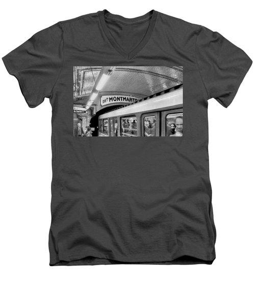 Men's V-Neck T-Shirt featuring the photograph Metro At Montmartre. Paris by Jennie Breeze