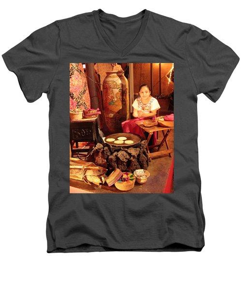 Mexican Girl Making Tortillas Men's V-Neck T-Shirt by Roupen  Baker