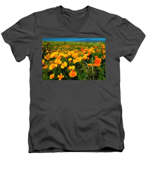 Men's V-Neck T-Shirt featuring the digital art Mexican Poppies by Chuck Mountain