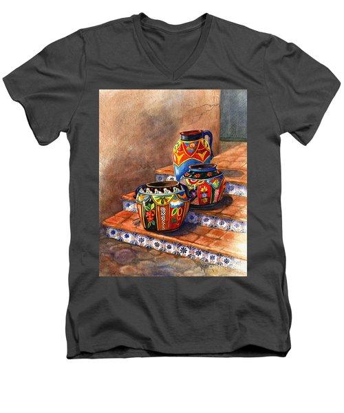 Mexican Pottery Still Life Men's V-Neck T-Shirt by Marilyn Smith
