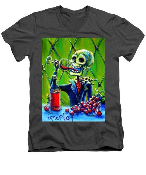 Men's V-Neck T-Shirt featuring the painting Mi Merlot by Heather Calderon