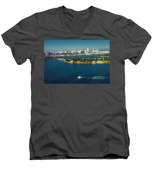 Miami City Biscayne Bay Skyline Men's V-Neck T-Shirt