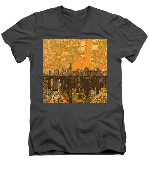 Miami Skyline Abstract 5 Men's V-Neck T-Shirt