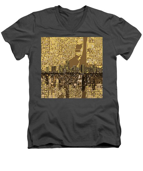 Miami Skyline Abstract 6 Men's V-Neck T-Shirt